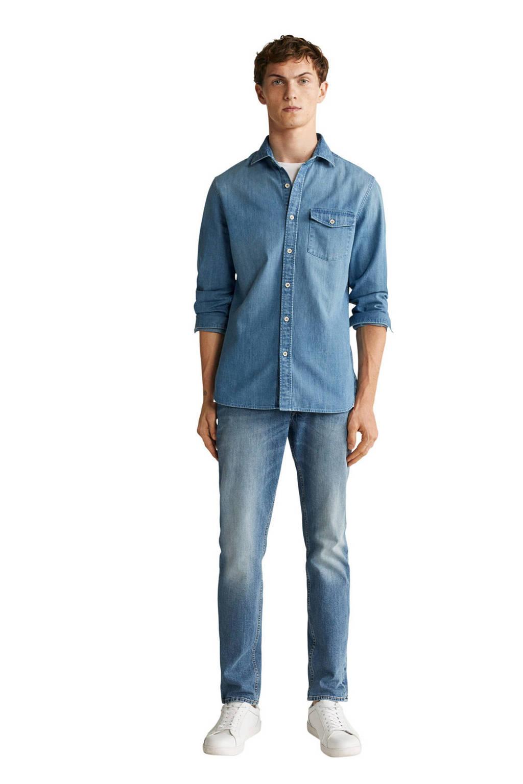 Mango Man slim fit overhemd changeant blauw