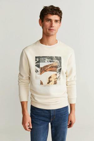 sweater met printopdruk naturel wit