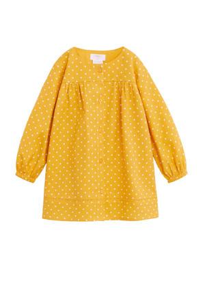 A-lijn jurk met stippen geel/wit