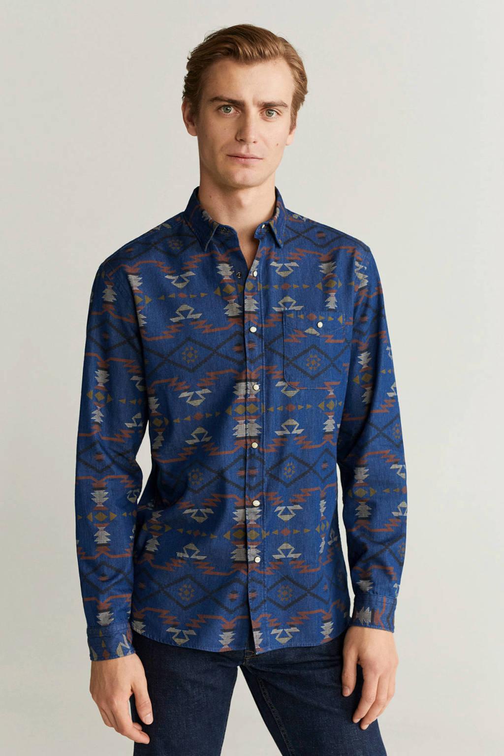 Mango Man regular fit overhemd met all over print middenblauw