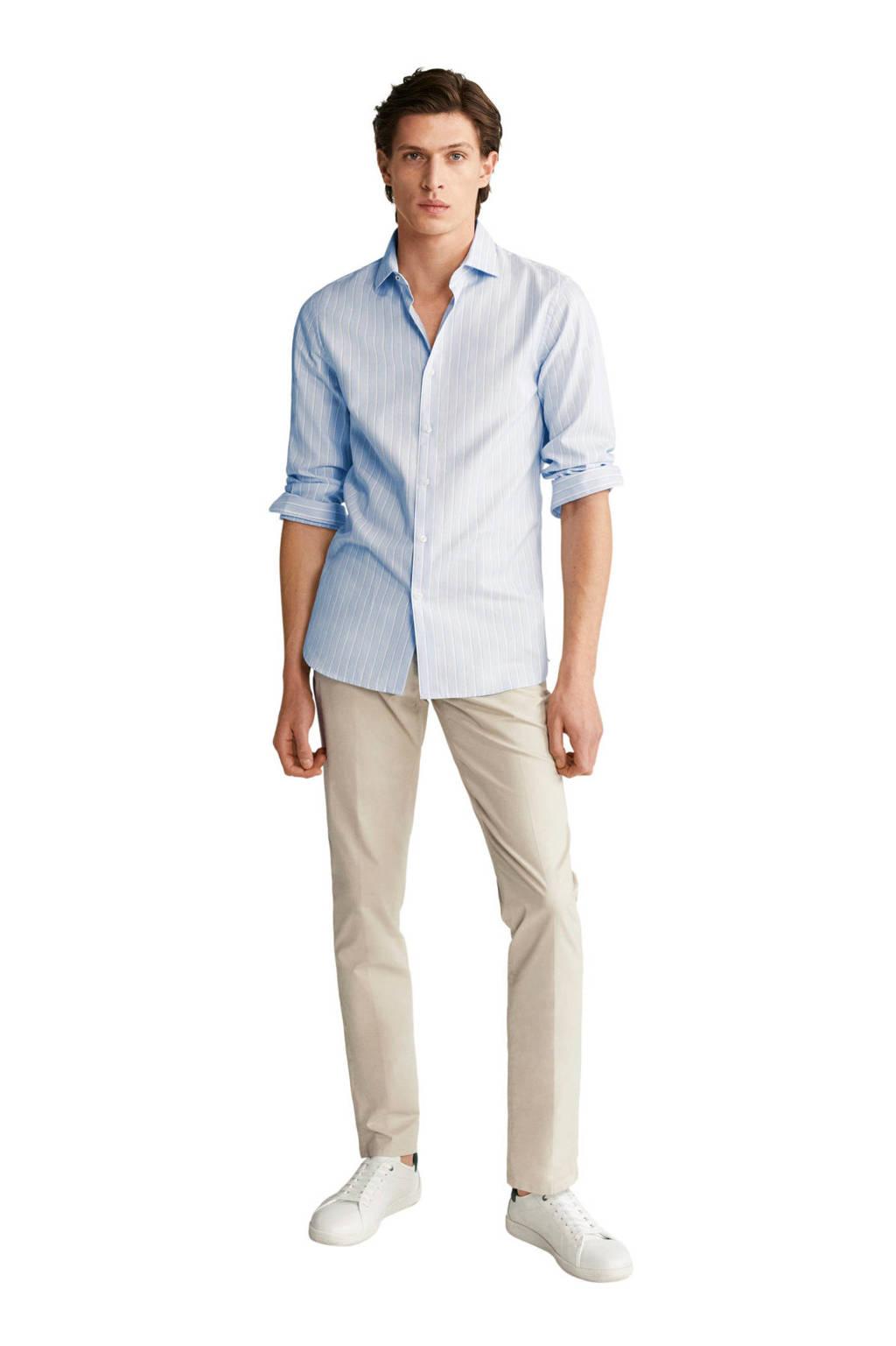 Mango Man gestreept slim fit overhemd lichtblauw, Lichtblauw
