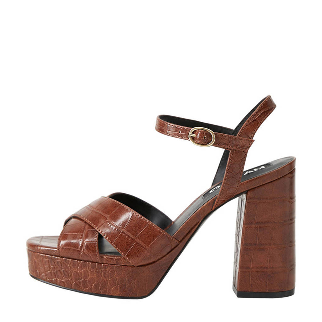 Mango   sandalettes crocoprint bruin, Bruin/cognac