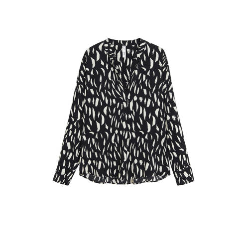 Mango blouse met all over print zwart
