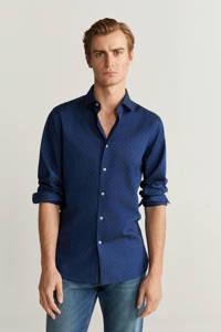 Mango Man slim fit overhemd met stippen marineblauw, Marineblauw
