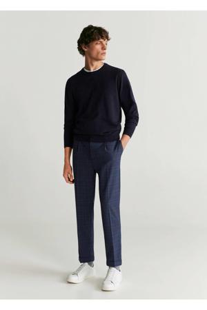 geruite tapered fit pantalon marineblauw