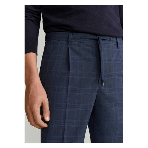 Mango Man geruite tapered fit pantalon marineblauw