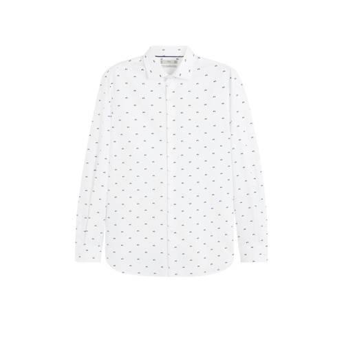 Mango Man slim fit overhemd met all over print wit