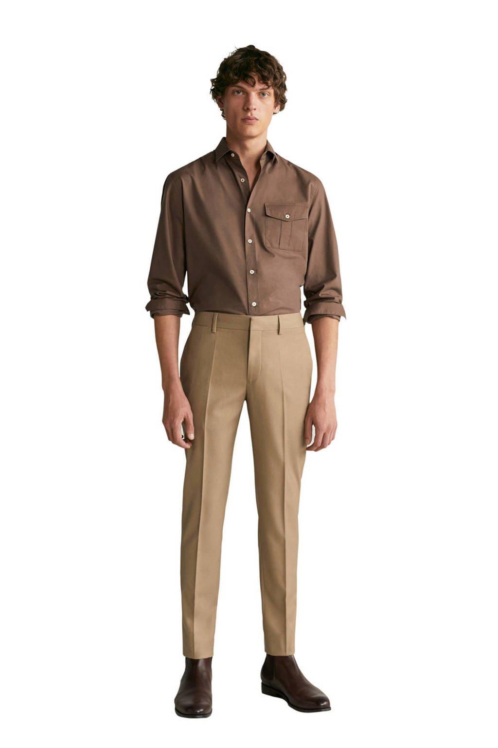 Mango Man slim fit overhemd bruin, Bruin
