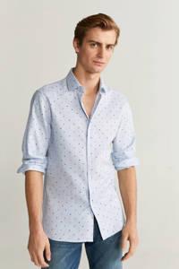 Mango Man slim fit overhemd met stippen pastelblauw