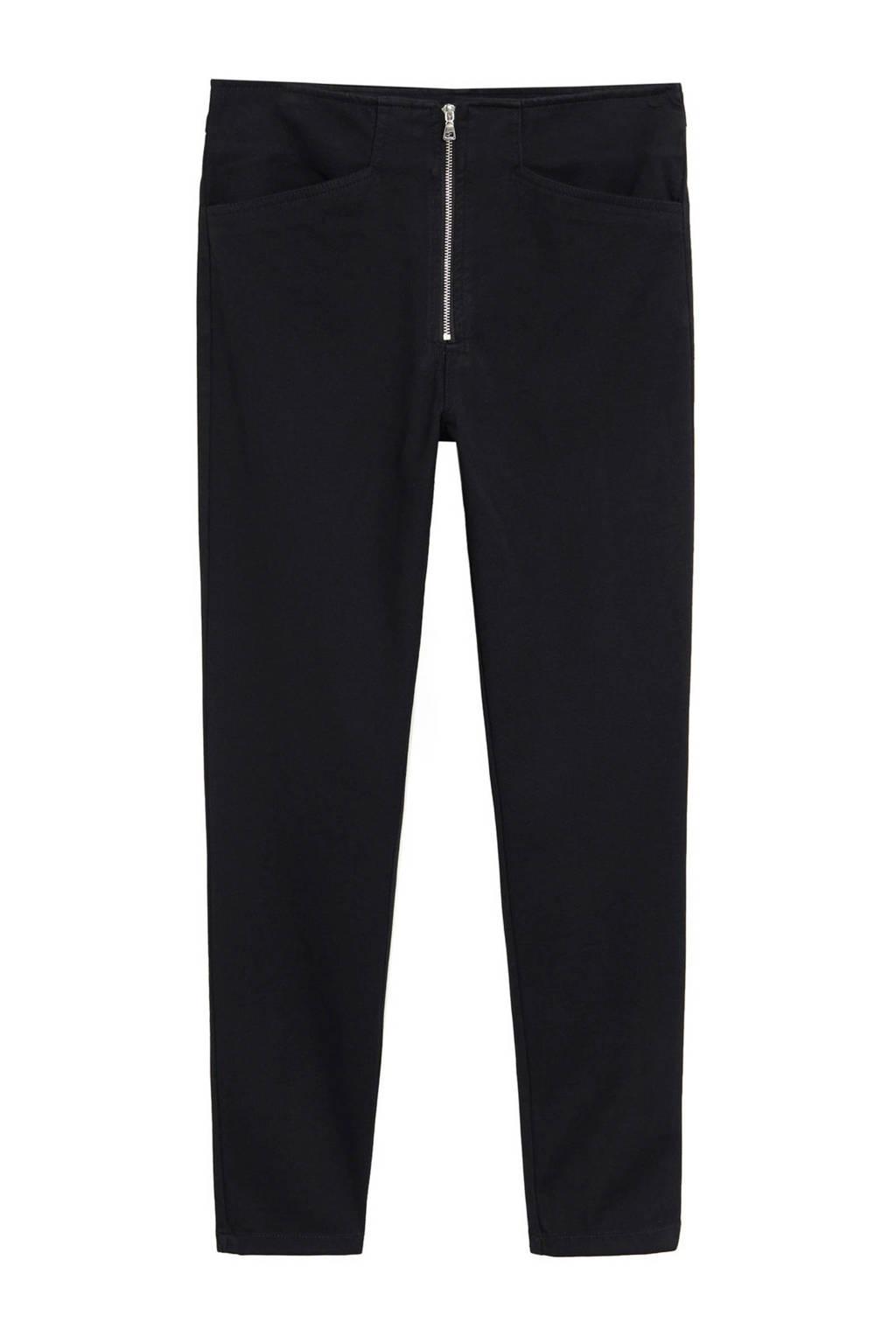Mango cropped high waist skinny broek zwart, Zwart