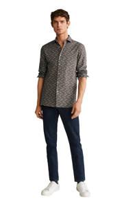 Mango Man slim fit overhemd met all over print kaki, Kaki