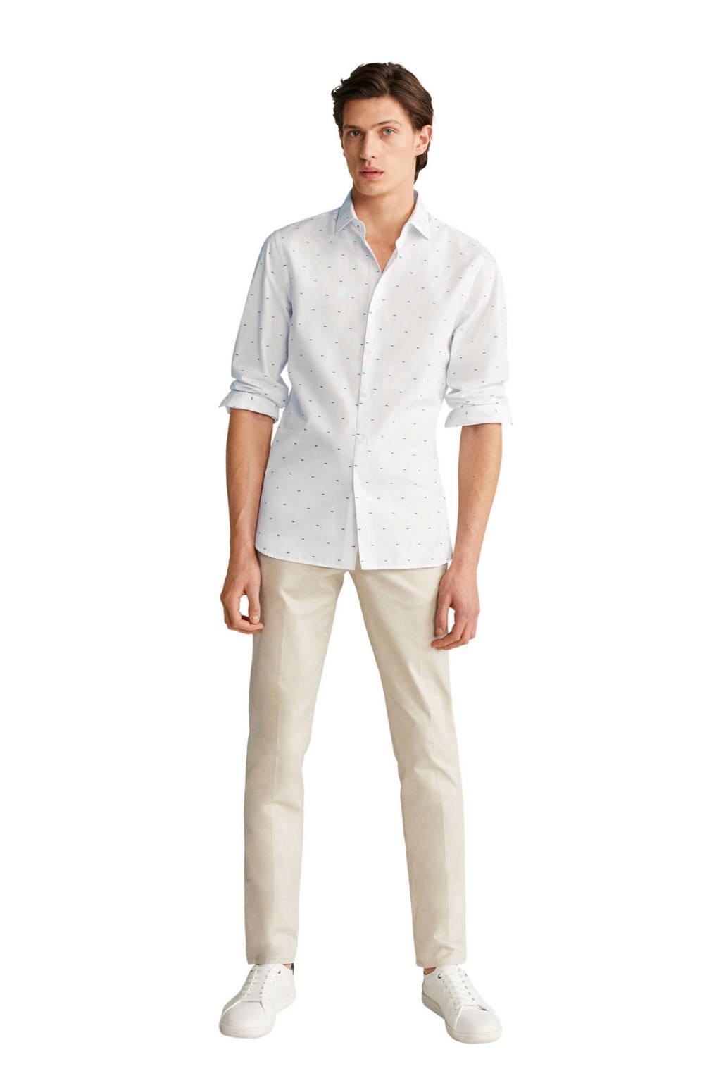 Mango Man slim fit overhemd met all over print wit, Wit