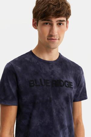 tie-dye T-shirt donkerblauw