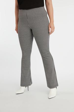 flared legging met pied-de-poule grijs/zwart