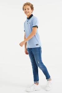 WE Fashion polo met contrastbies en borduursels lichtblauw, Lichtblauw