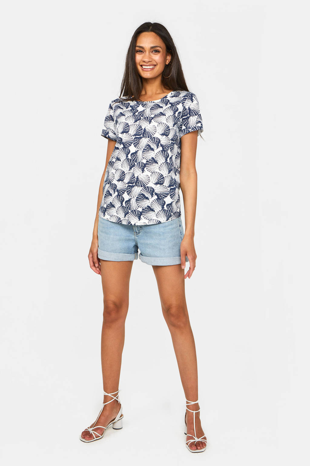 WE Fashion T-shirt met all over print blauw/wit, Blauw/wit