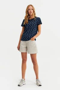 WE Fashion T-shirt met contrastbies donkerblauw, Donkerblauw