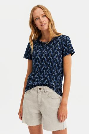 T-shirt met contrastbies donkerblauw