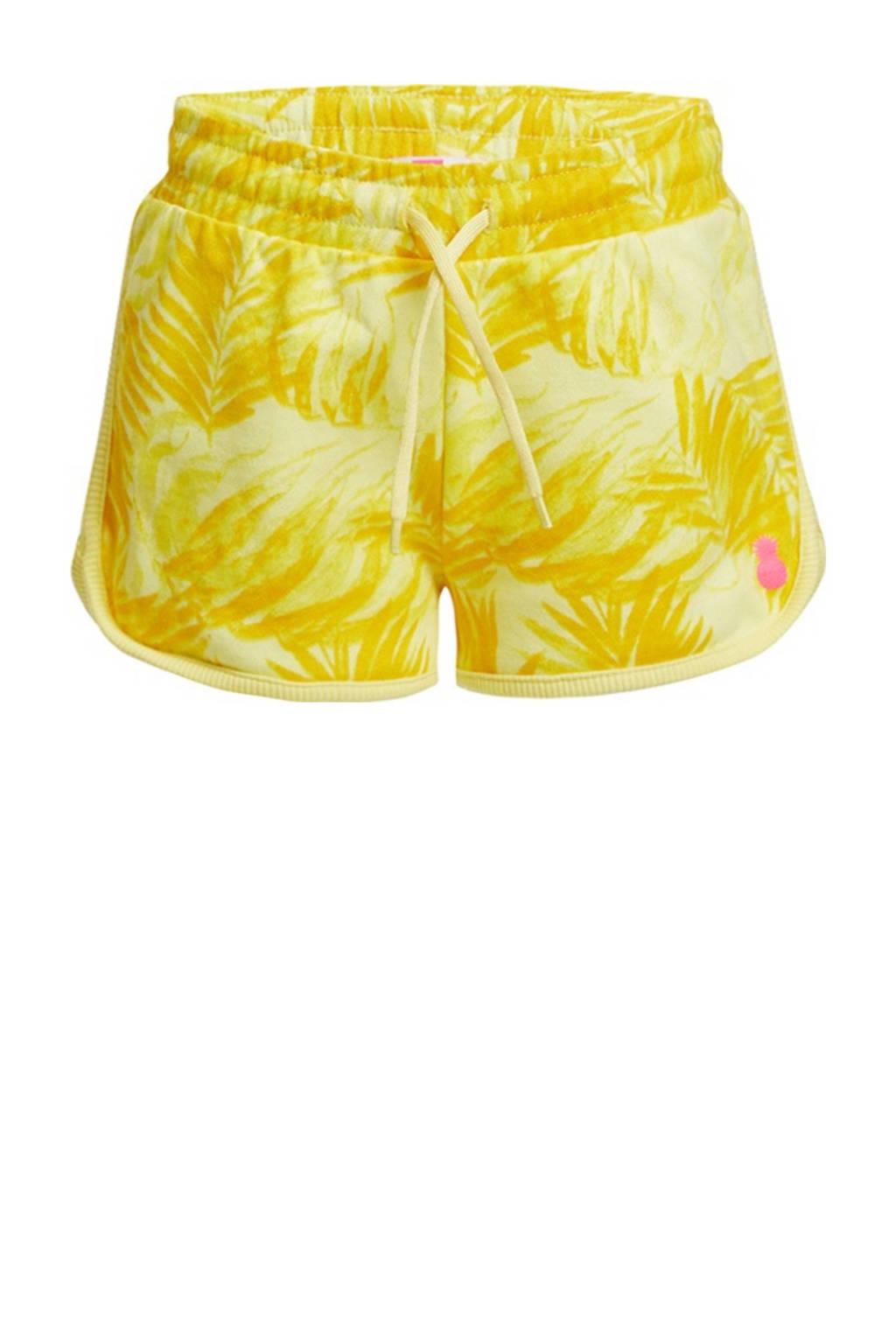 WE Fashion slim fit sweatshort met bladprint geel, Geel