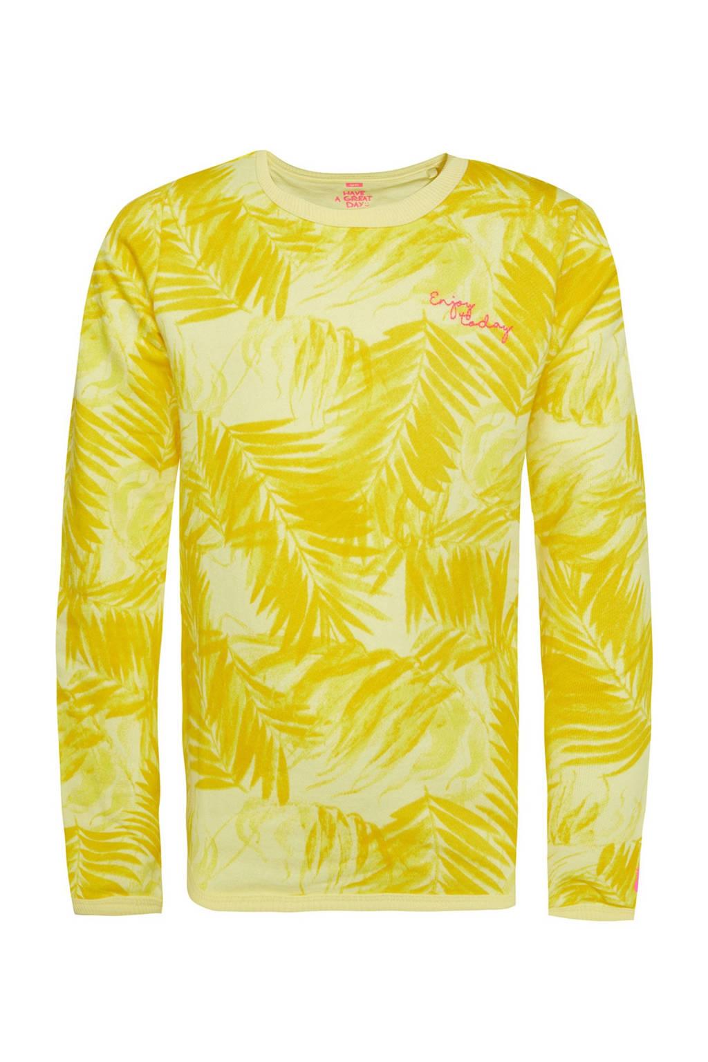 WE Fashion sweater met bladprint en borduursels geel, Geel