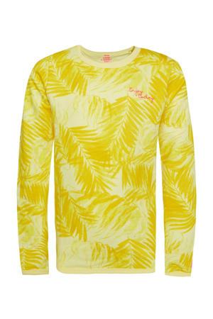 sweater met bladprint en borduursels geel