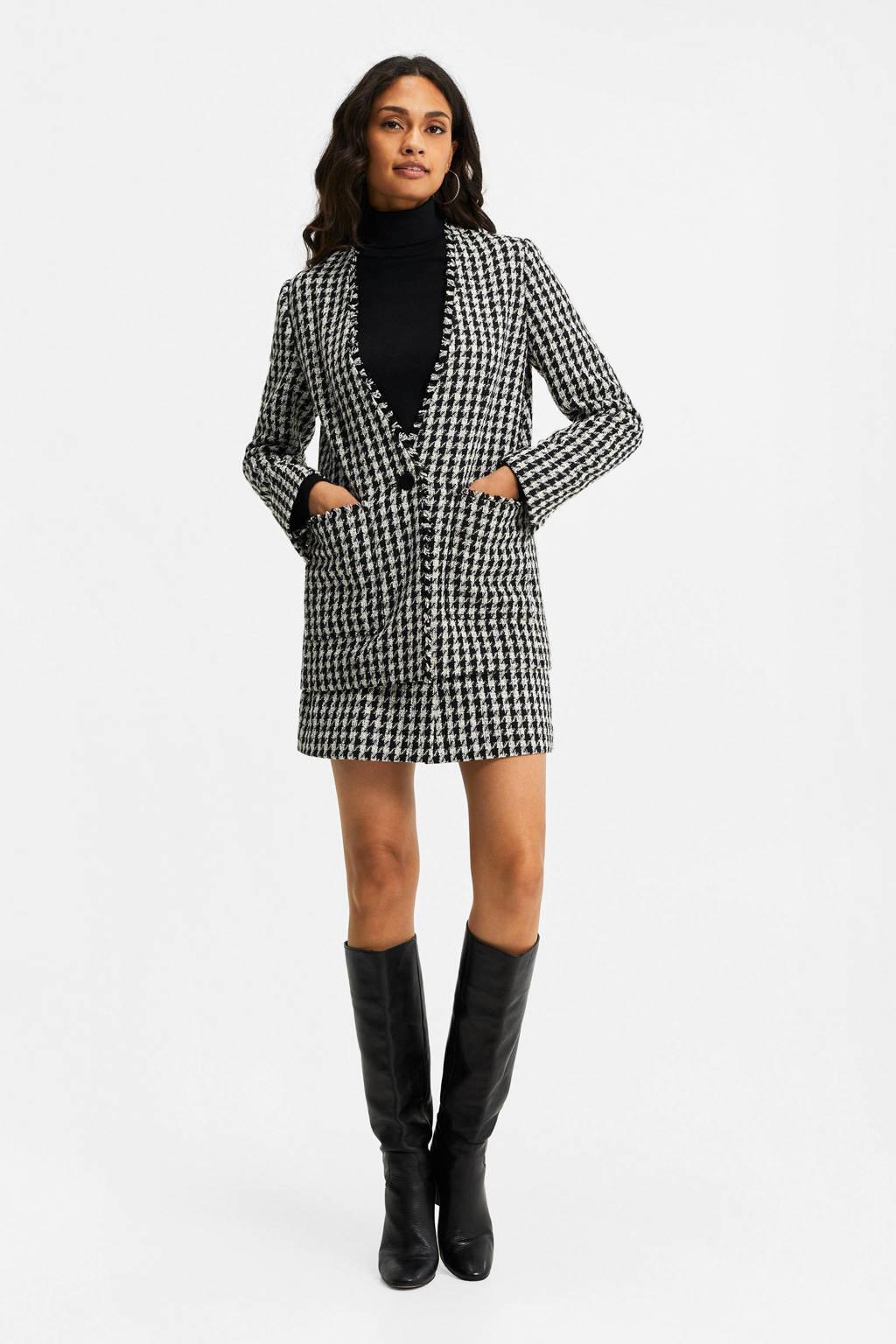 WE Fashion blazer met pied-de-poule zwart/wit, Zwart/wit
