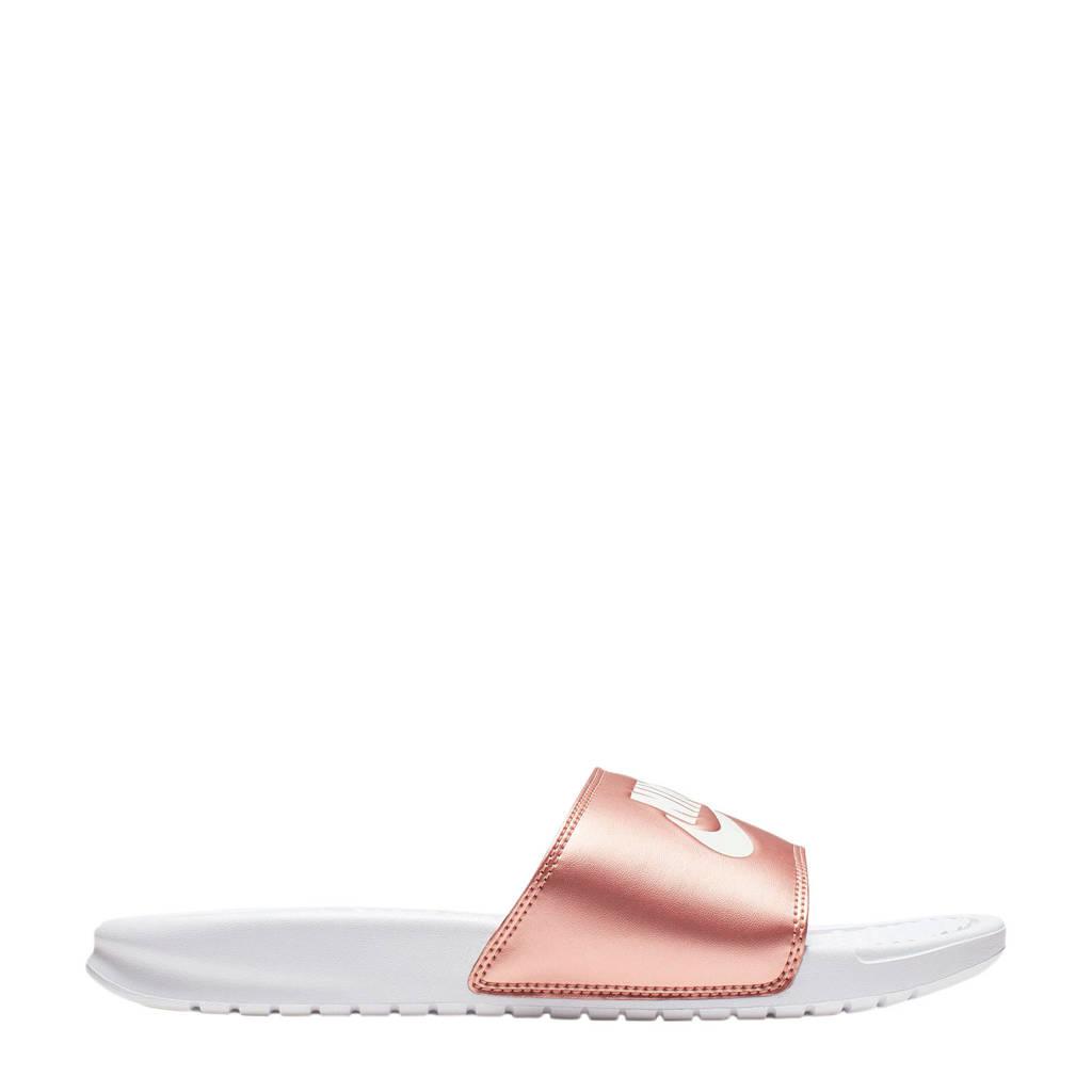 Nike Benassi JDI  slippers wit/brons, Wit/brons