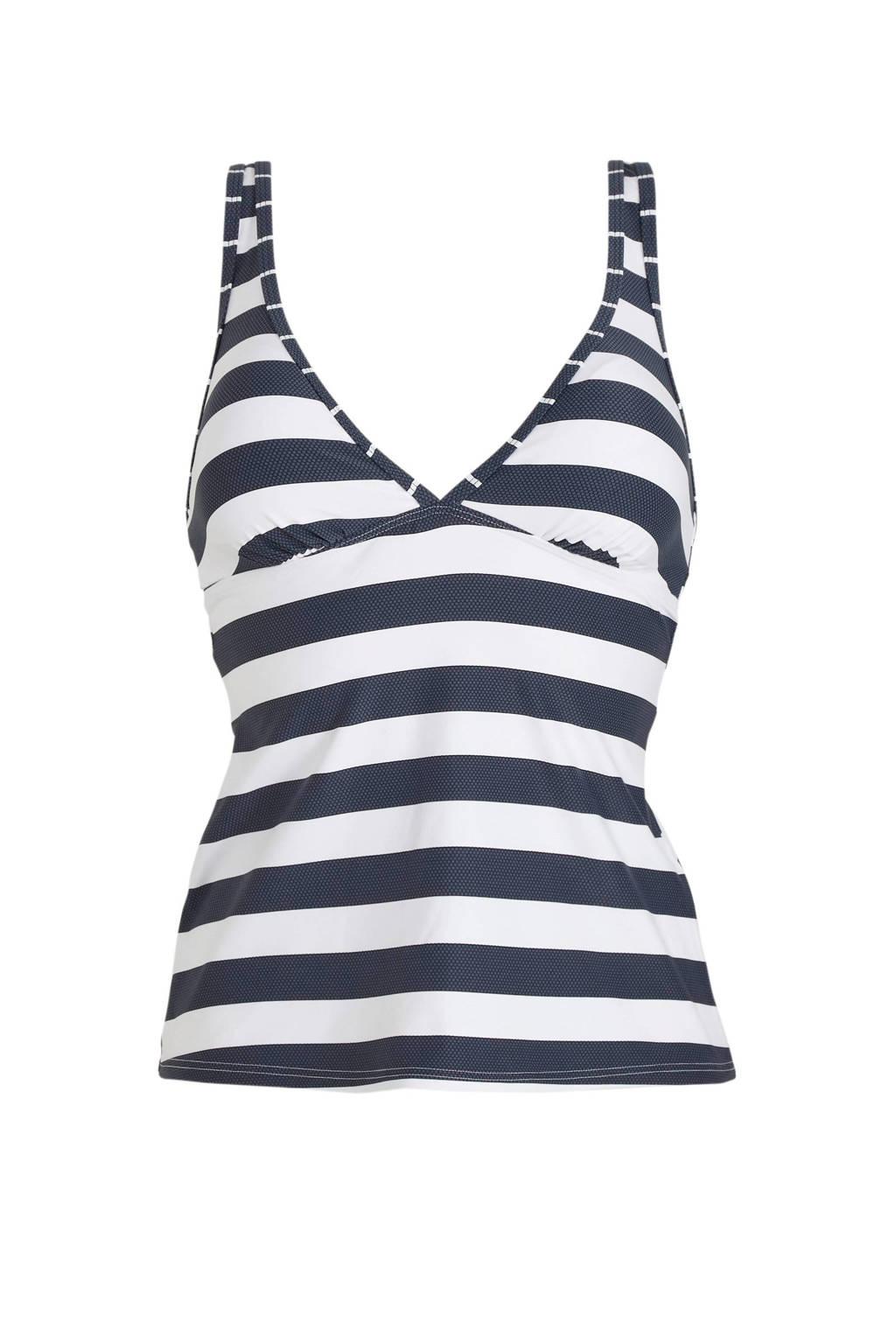 ESPRIT Women Beach gestreepte tankini bikinitop donkerblauw/wit, Donkerblauw/wit