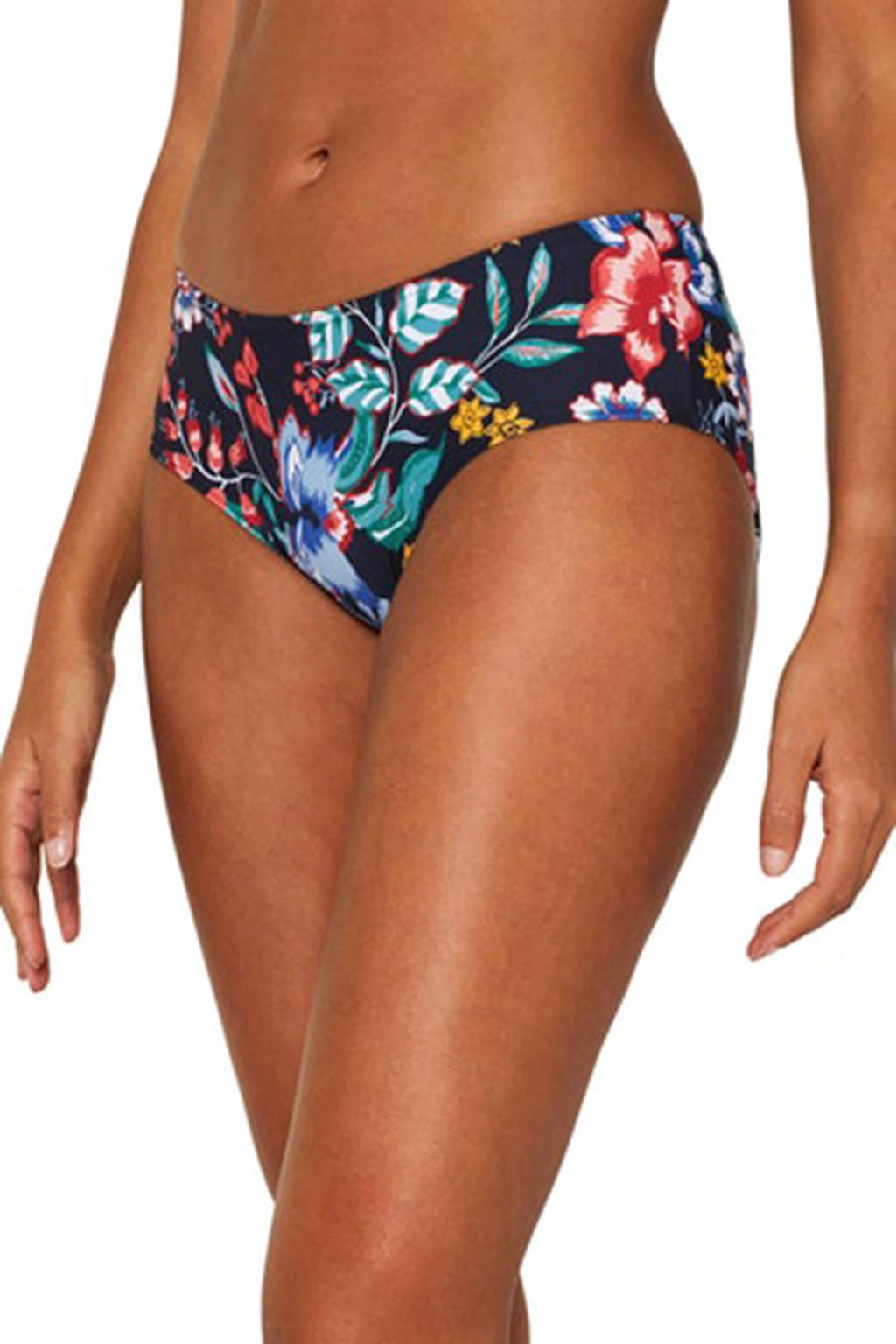 ESPRIT Women Beach gebloemd bikinibroekje donkerblauw, Donkerblauw/geel/rood