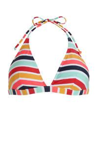 ESPRIT Women Beach gestreepte triangel bikinitop geel/lichtblauw/rood, Geel/lichtblauw/rood