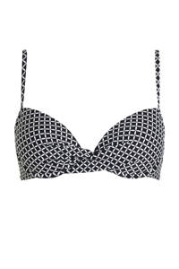 ESPRIT Women Beach push-up bikinitop met all over print, Zwart/wit