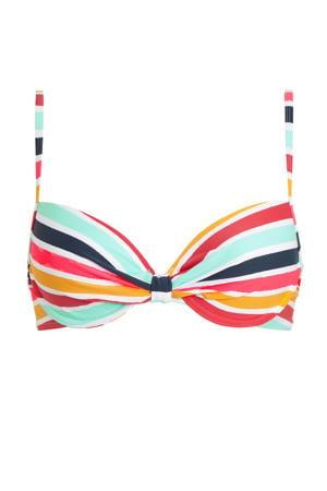 gestreepte beugel bikinitop geel/lichtblauw/rood