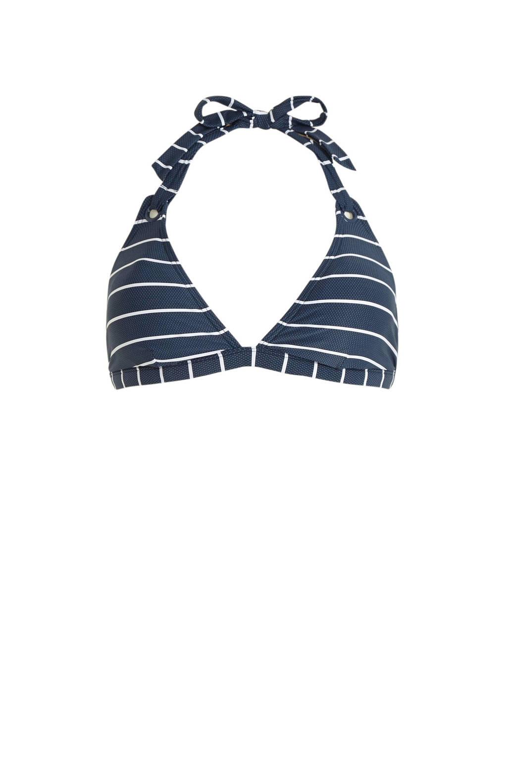 ESPRIT Women Beach gestreepte halter bikinitop donkerblauw/wit, Donkerblauw/wit