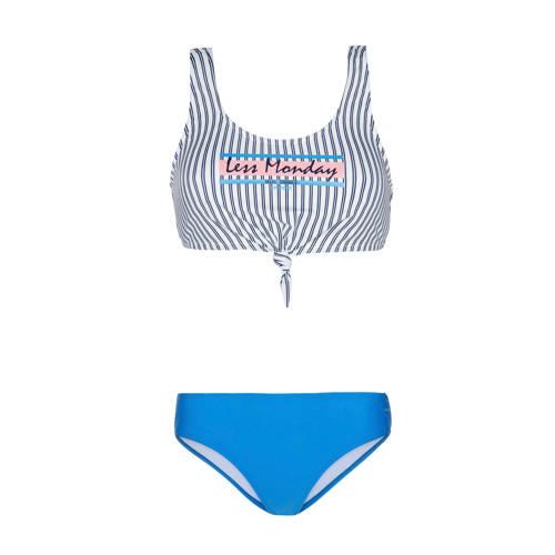 Protest bikini Waffle met strepen blauw/wit