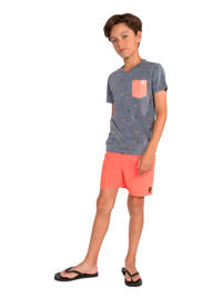 Protest T-shirt Valor JR met all over print donkerblauw/oranje, Blauw