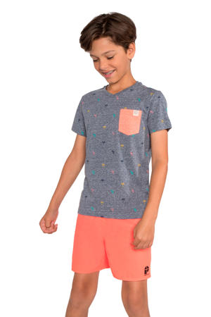 T-shirt Valor JR met all over print donkerblauw/oranje