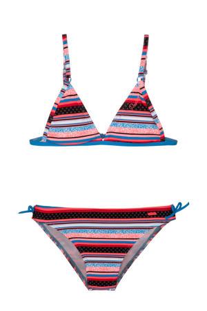 gestreepte triangel bikini Malou JR blauw/rood