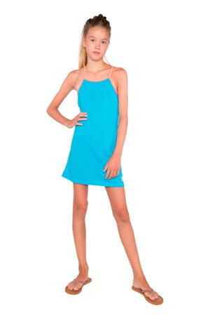 jersey jurk Sylvia JR met contrastbies blauw