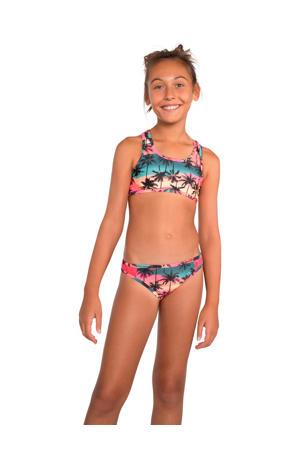 crop bikini Fenya JR met all over print roze/rood