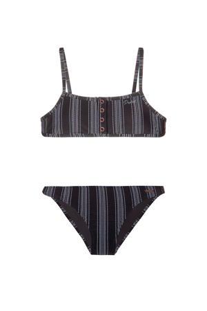 gestreepte bikini Peggy JR zwart/wit