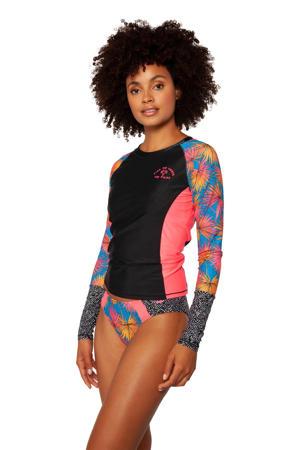 UV shirt Soekie met mixprint roze/zwart