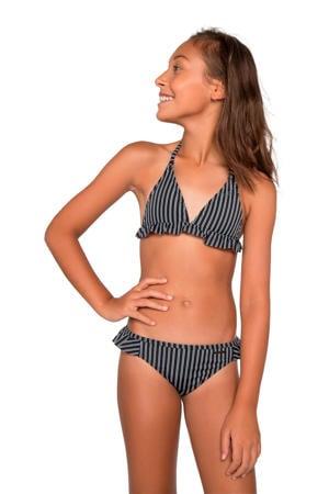 gestreepte triangel bikini Ivy JR met volant zwart/wit