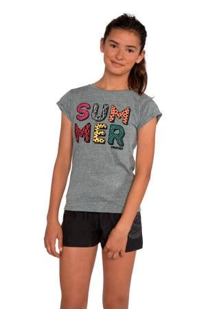 T-shirt Wende JR met tekst grijs