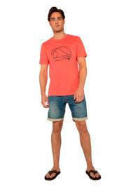 Protest T-shirt met printopdruk koraalrood, Koraalrood