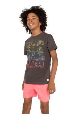 T-shirt met printopdruk antraciet/roze/blauw