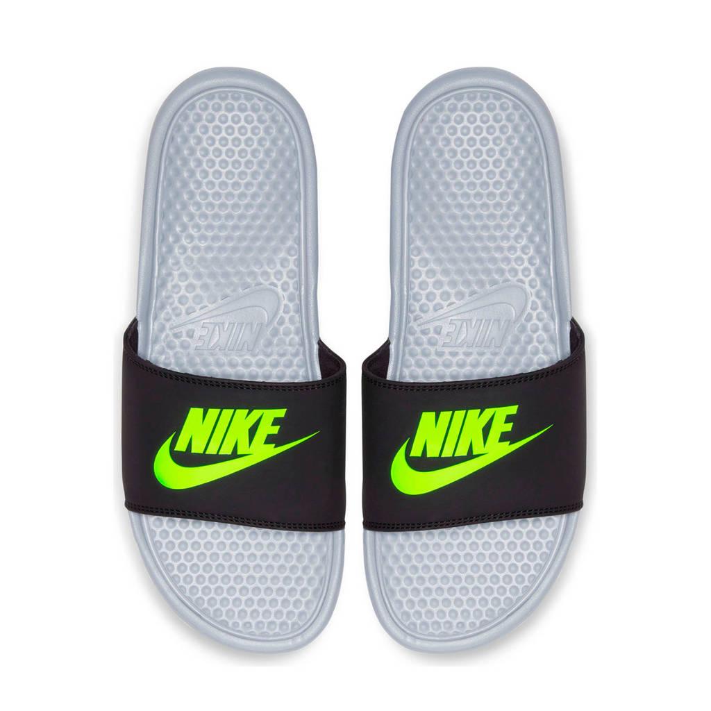 Nike Benassi JDI  slippers zwart/neon geel, Zwart/neon geel