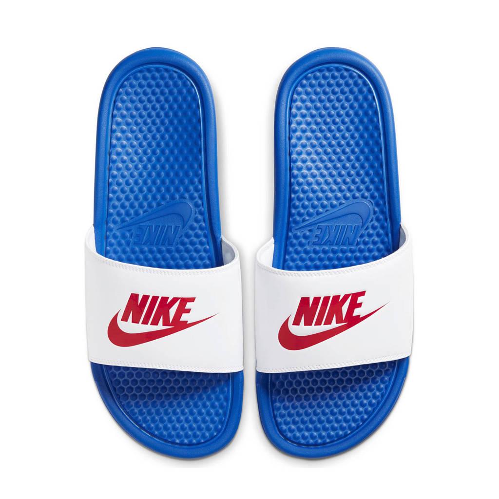 Nike Benassi JDI  slippers blauw/wit/rood, Blauw/wit/rood