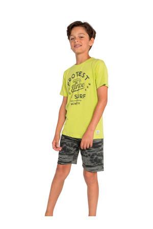 T-shirt Chaz JR met printopdruk geel