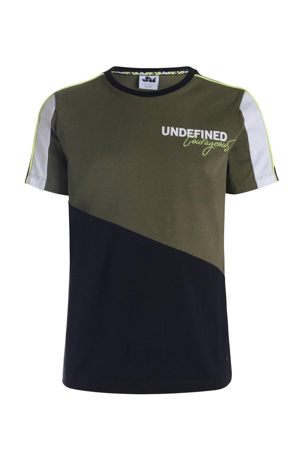 Mitch T-shirt met borduursels army groen/zwart/wit, Army groen/zwart/wit