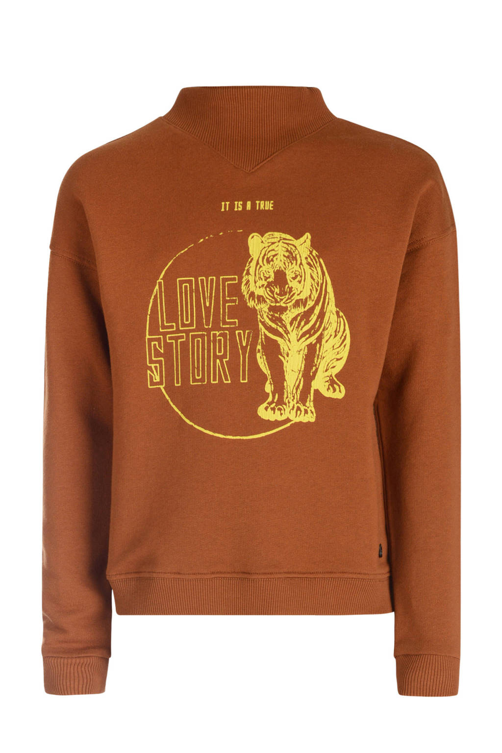 Jill sweater met printopdruk bruin/geel, Bruin/geel
